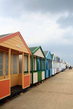 Southwold beach huts on the Suffolk coast